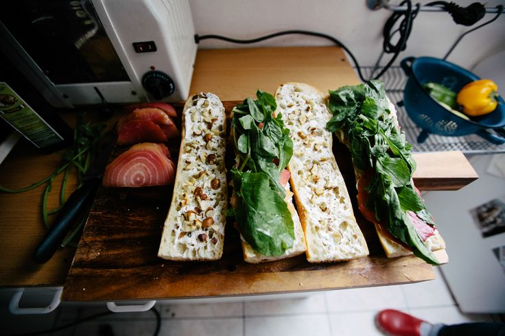 Beet and Arugula Sandwich with Hazelnuts and Goat Cheese Spread; Lunch at Tiffany's Kinfolk in Paris
