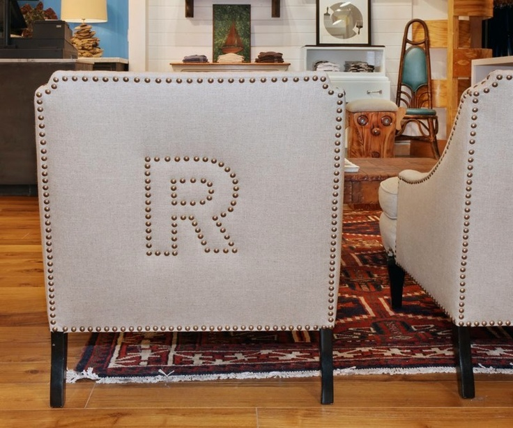 Nailhead monogram chairs. In love