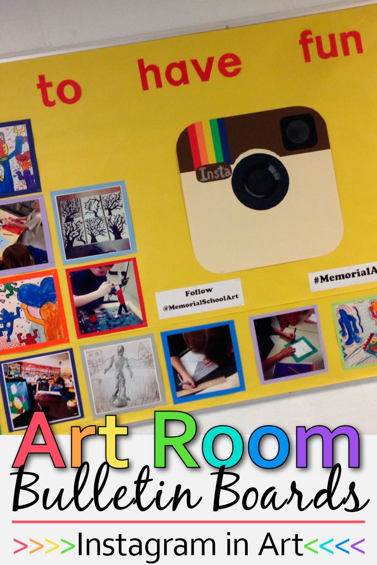 Are you searching for some art room decor for the upcoming school year? Here's one of my all-time favorite bulletin boards I created for Instagram. I used this to get students pumped about what they'd be learning this year in art class! | Glitter Meets Glue Designs