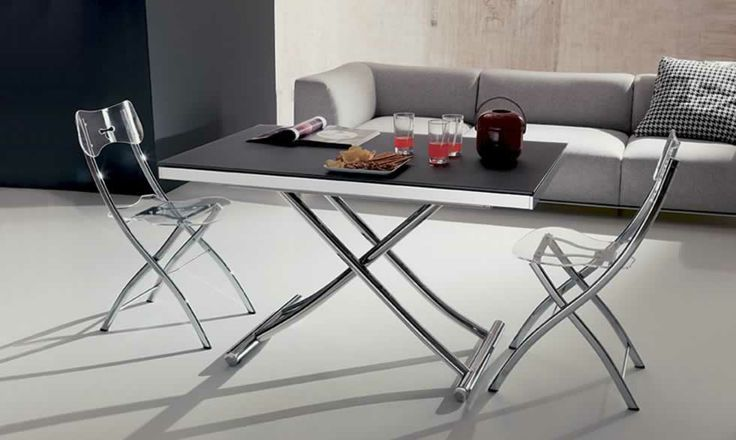 PLANET, design: Studio Ozeta - Metal frame transformable table, gas adjustable height from cm 23 to cm 80, glass top, sliding side extensions. www.ozzio.com