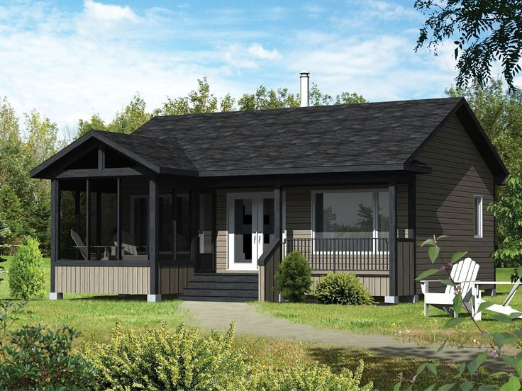 56 best cabin house plans images on pinterest cabin for Cottage house plans with screened porch