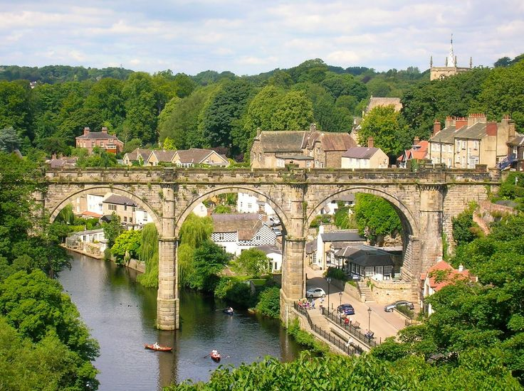 Knaresborough viaduct  Knaresborough is an old and historic market town, spa town and civil parish in the Borough of Harrogate, North Yorkshire, England, located on the River Nidd.  photo by James Mark