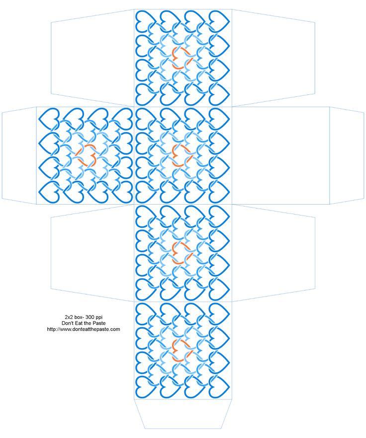 2×2×2インチの印刷可能なリンクされた心臓は、青とオレンジ色のボックス - また、利用可能な異なるサイズで黄褐色と赤で
