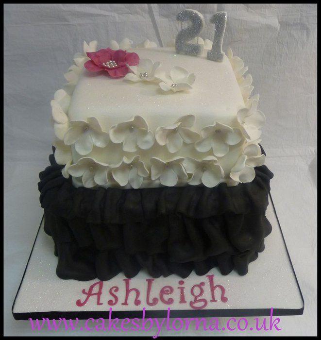 Black and White Ruffles Cake - 21st Birthday Cake - Wendy Schultz via albina Alb via cakesdecor.com onto Cake Decoration.