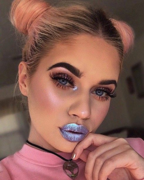 Make-up: metallic lipstick metallic lipstick lips eye makeup eyeliner eye shadow eyebrows eyelashes