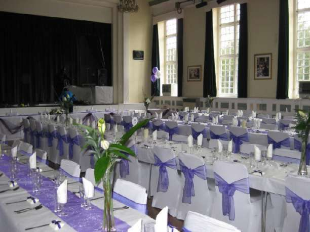 The main hall set up for a wedding reception. Beckenham Public Hall wedding venue in Beckenham, Kent. Located close to Beckenham town centre, this venue is a Grade II listed Victorian building with a character and charm all its own. Its location and facilities make it an ideal venue for wedding receptions.