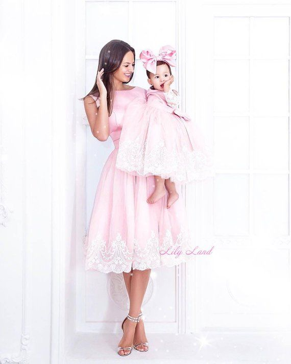 468076e25e6 Mother daughter Matching dresses Satin dresses For mother and me Mommy and Me  Matching Pink dress we