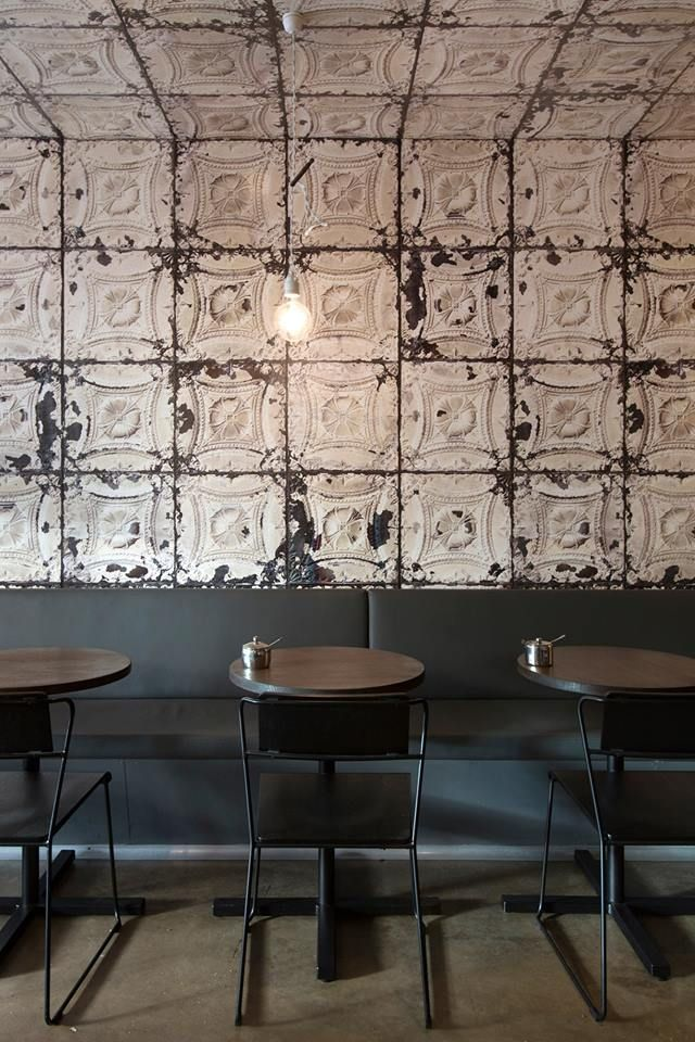 Brooklyn Tins wallpaper used to great effect at GB Espresso, Fitzroy Street, St. Kilda. Designers Andrew and James of Mr Mitchell styled by Juliet Owen and shot by Andrew Wuttke.