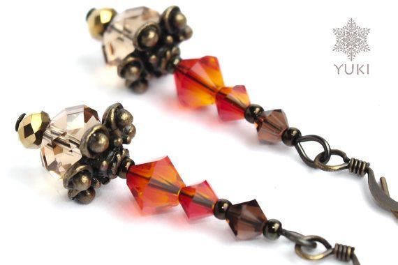 Old style fiery red earrings Brown earrings by YUKIJewellery, €18.50