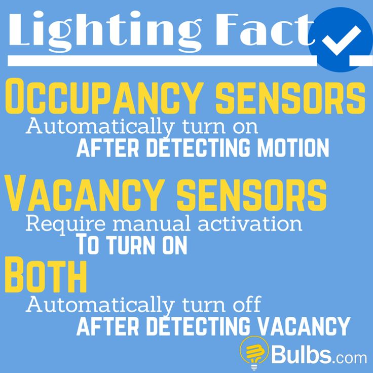 Lighting Fact: Occupancy Sensors automatically turn on after detecting motion. Vacancy Sensors require manual activation to turn on. Both automatically turn off after detecting vacancy.