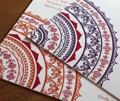 Neha letterpress wedding invitation design