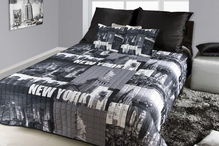 New York přehoz na postel černo bílé barvy