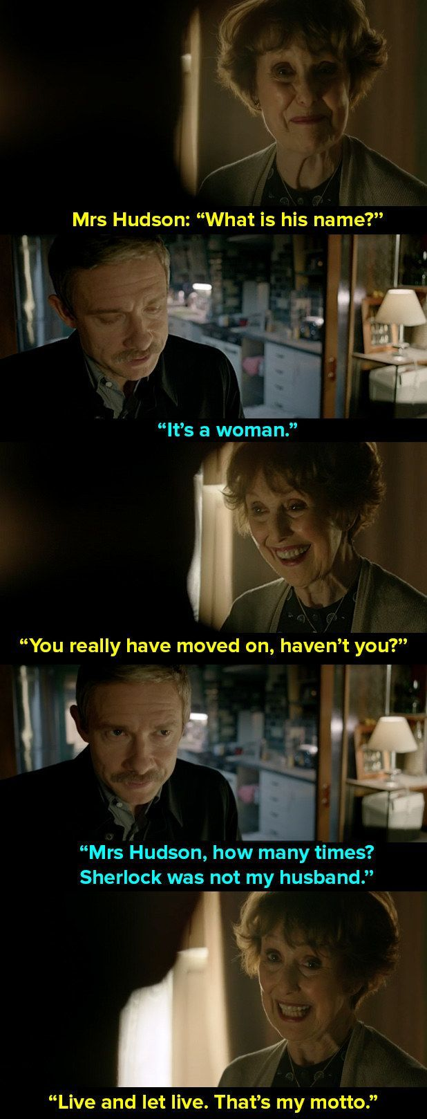 "And when Watson told her that he was going to propose to someone. | 14 Times Mrs Hudson Was The Best Thing About ""Sherlock"""