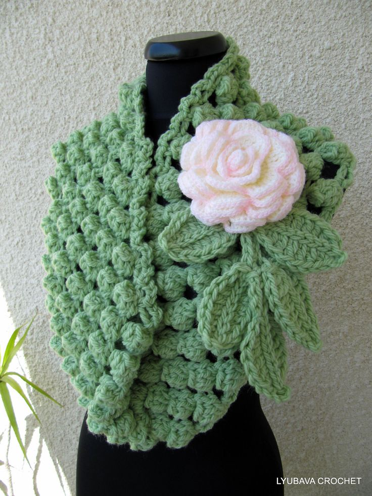 "Crochet Scarf Tutorial Pattern, PDF Green Chunky Infinity Crochet Scarf ""Chunky Popcorn Stitch"", Lyubava Crochet Pattern number 53, via Etsy."