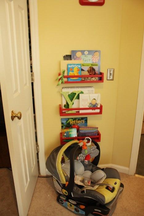 IKEA spice racks as book shelves in nursery! Painted red. #DIY $3.99