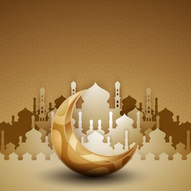 3d Golden Mosque Silhouette With Crescent Moon Islamic Artwork Wallpaper Ramadhan Islamic Posters