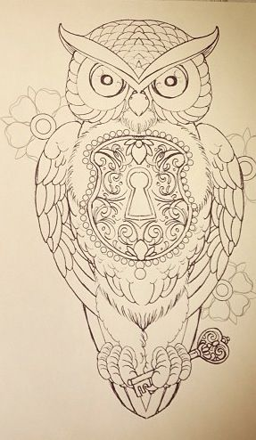 Pretty owl with a heart lock and key drawing