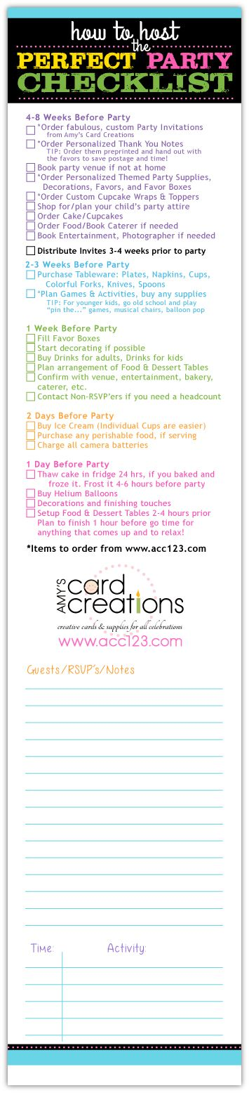Here's a handy pinnable checklist to assist in planning your child's birthday party!  Click link to view printable version and see more tips for party planning. Shop www.acc123.com for the most creative and exclusive custom invitations and matching party supplies.  CHECK US OUT!!  Think outside of the box, go big by going small.