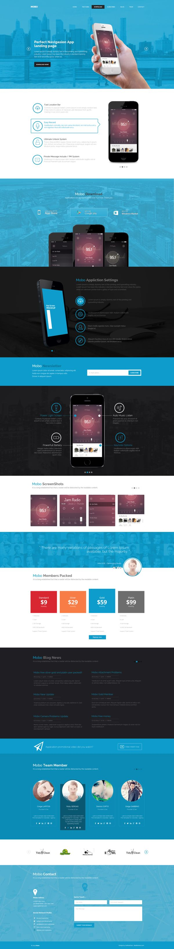 Mobo - One Page #App #Landing Page | #webdesign on Behance