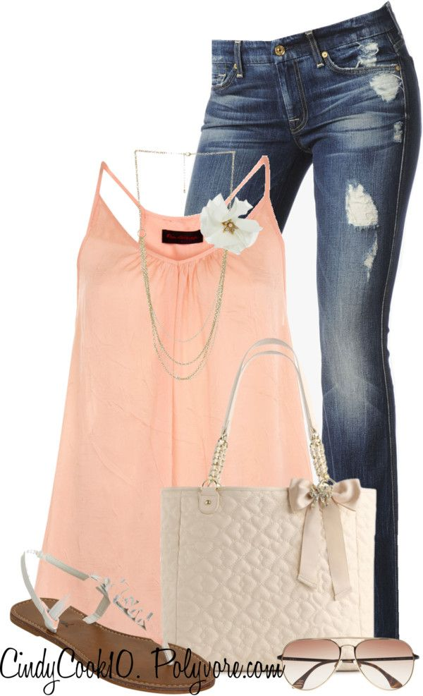 """""""Pink Top and Jeans.. My Fav."""" by cindycook10 ❤ liked on Polyvore"""