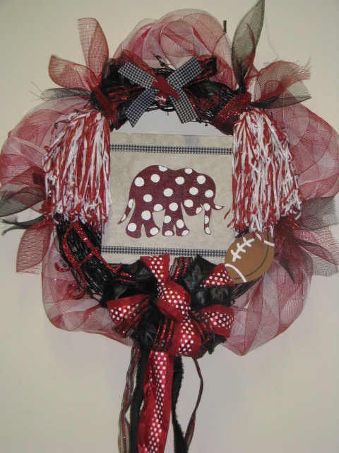Alabama Football Team Collegiate Wreath Elephant Bama Roll Tide Custom