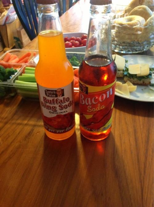 strange food products | Odd products: Can't tell if weird or genius (23 photos) » weird ...  Spicy Buffalo Wing soda with a Bacon Soda chaser.