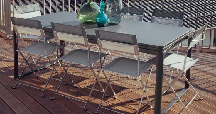 mobilier de jardin, table extensible, chaise pliante, chaise en toile pliante, table à rallonge, table allonge