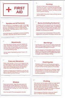 Cub/Boyscout first aid reminder cards--perfect for Readyman and Boy Scout first aid.