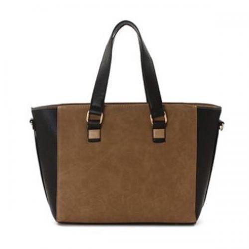 Faux Leather Double Handle Straps Detail Handbag