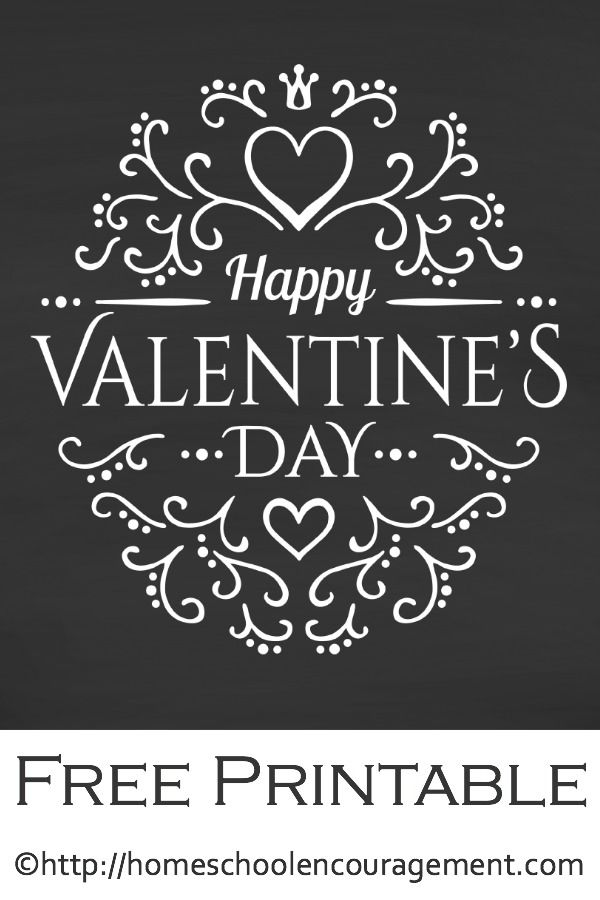 Free Valentine's Day Printable - Chalkboard printable decoration. Plus, a collection of nine additional free Valentine's Day Printables to grace your home.