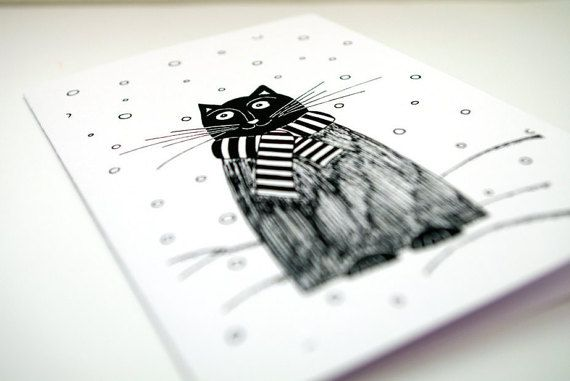 Cat Christmas cards animal - Black cat birthday card - Cat greeting card - Carte anniversaire white and black - Grusskarten Black cat christmas card