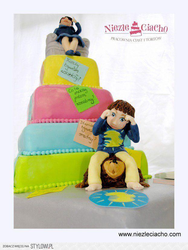 Smutek, emocje, nastrój,tort piętrowy, kolorowy tort piętrowy, tort kwadratowy, torty dla dorosłych