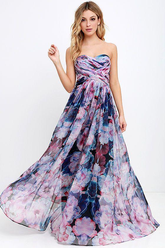 Chiffon floral strapless maxi dress
