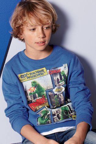 Buy Blue Dinosaur Comic Print Crew Neck (3-16yrs) from the Next UK online shop