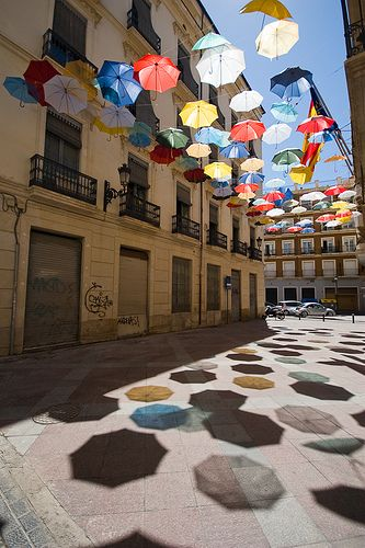 Inspiration: Light, shadows, colors (Umbrella installation by Ingo Maurer in Alicante, Spain)