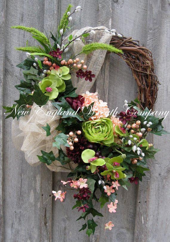 Spring Wreath, Summer Wreath, Victorian Wreath, Tuscany, Designer, Elegant Summer Floral, Garden Wreath