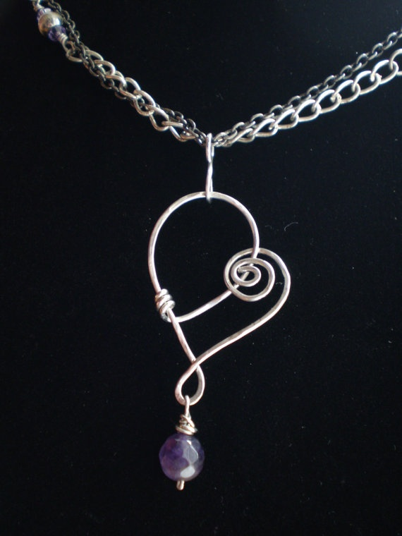 Stainless Steel Heart Hammered Wire Pendant Necklace Faceted Amethyst stone Antique Silver and Gun Metal Chain