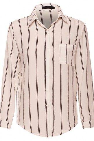 Ριγέ κρεπ μακρυμάνικο πουκάμισο - Ζαχαρί