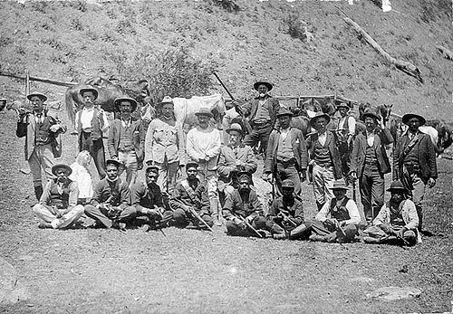 The hunt for the Governor gang of bushrangers. A posse of mounted police, aboriginal trackers and district volunteers. Jimmy & Joe Governor were sighted at Stewarts Brook on 12 September 1900 - Stewarts Brook, NSW / by A C Jackson.  State Library of NSW Collection