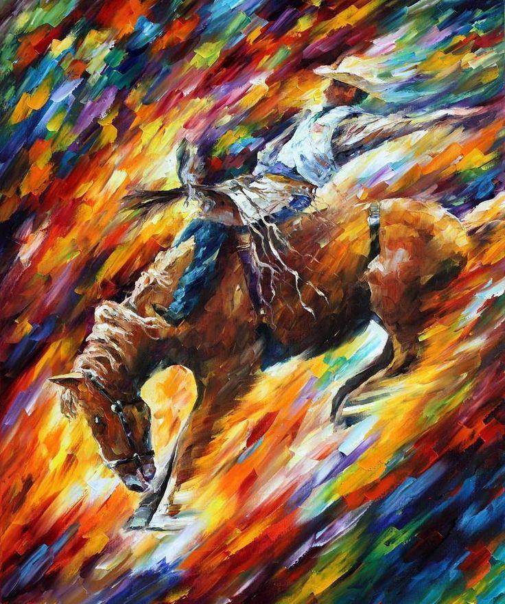 RODEO DANGEROUS GAMES - PALETTE KNIFE Oil Painting On Canvas By Leonid Afremov - http://afremov.com/RODEO-DANGEROUS-GAMES-PALETTE-KNIFE-Oil-Painting-On-Canvas-By-Leonid-Afremov-Size-36-X30.html?utm_source=s-pinterest&utm_medium=/afremov_usa&utm_campaign=ADD-YOUR