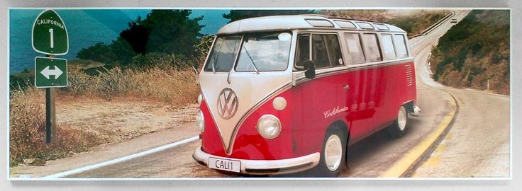 VW CALIFORNIAN CAMPER route one - plakat - Galeria Plakatu