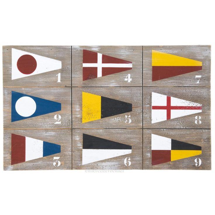 Cuadro náutico en madera con banderas de señales