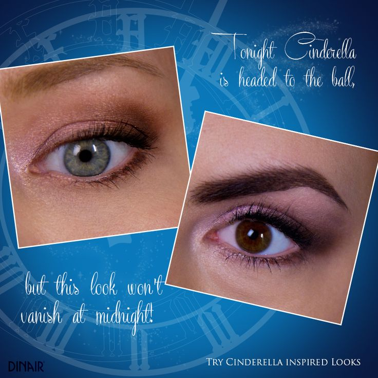 Inspired by the new Cinderella movie, we made an eye look similar from the movie.  Stripped is used all over the lid, Vanity center lid, mixture of Fawn Brown & Blonde at outer corner and lower lash line, and mixture of Enchanted & Vanity on inner corner. #dinair #airbrushmakeup #cinderella #cinderella2015 #eyeshadow #strokeofmidnight  http://www.airbrushmakeup.com/shop/shopColors/