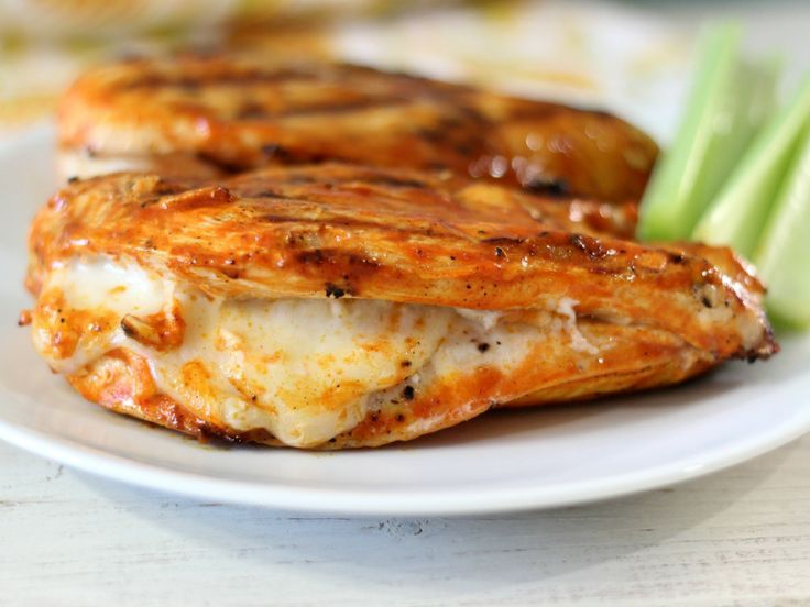 Grilled Cheesy Buffalo Chicken -Only 161 calories and oh my gosh, so good!/This is awesome. I put a slice of mozzarella inside 5 minutes before it was done. Will make again.