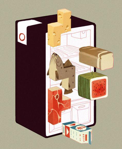 Cool fridge illo in ISOMETRIC