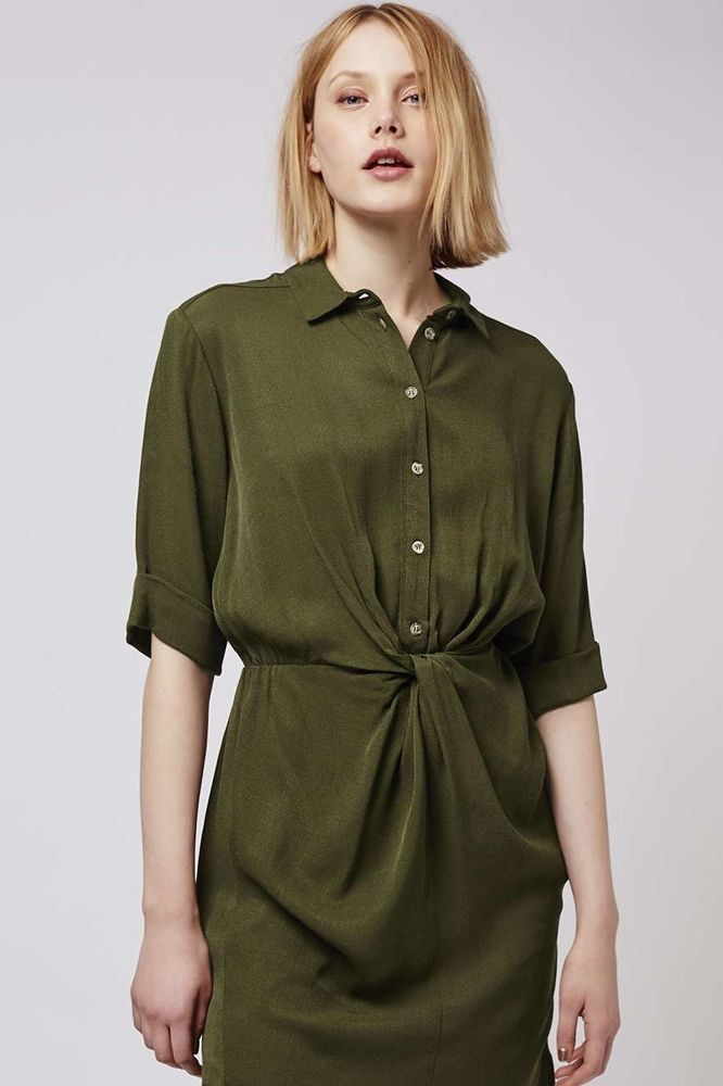 discount price baby unparalleled $68 TOPSHOP Twist Front Shirt Dress~Olive Green~Utility ...
