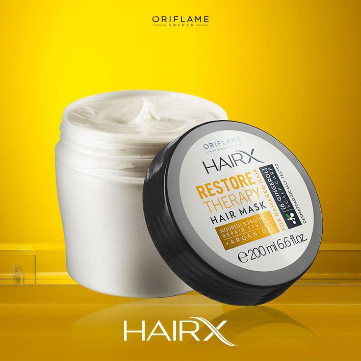La mascarilla Nutritiva de Hair X contiene aceite de argán que mantiene tu pelo hidratado. ¡Aplica sustituyendo el acondicionador una vez por semana con el cabello húmedo, espera dos minutos y enjuaga! #OriflameMX #Hair