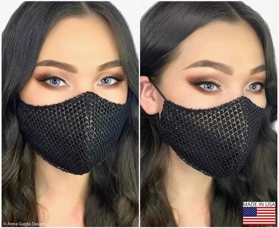 Ultimate Luxury Black Gold Lace Designer Face Mask With Etsy Fashion Face Mask Face Mask Set Mask