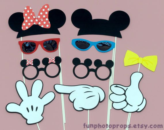 Photo booth Props - 10 piece Mr. & Mrs. Mouse Photobooth Prop Set