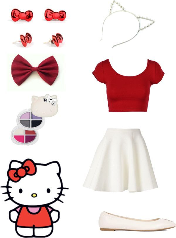"""Halloween costume: Hello Kitty"" by otakugurl77 ❤ liked on Polyvore:"